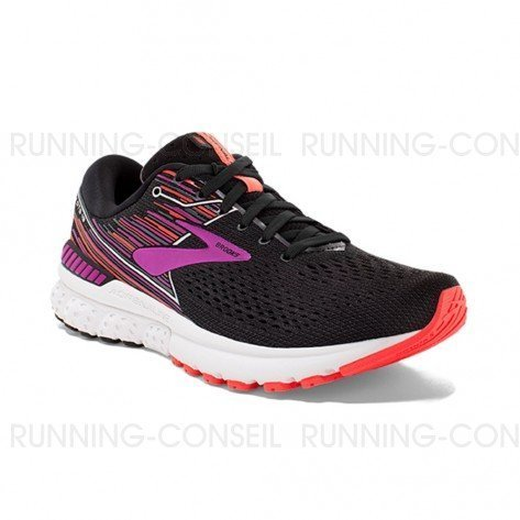 BROOKS ADRENALINE GTS 19 FEMME | BLACK/PURPLE/CORAL